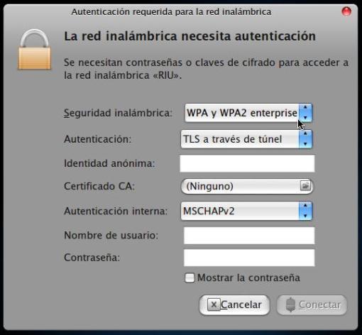 Entrada RIU sin configuración